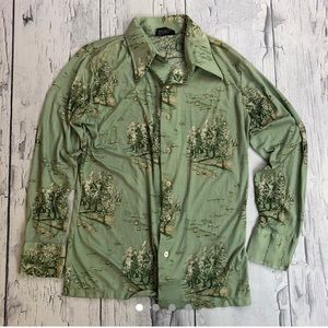 Vintage 70's button up shirt silky trees pattern